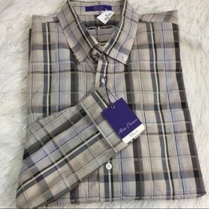 NWT Alan Flusser plaid long sleeve shirt